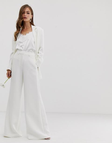 Pantalones De Boda De Pernera Ancha De Asos Edition-blanco