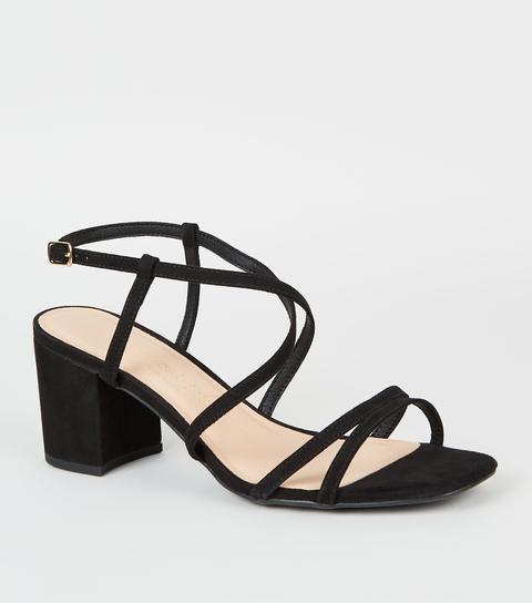 Wide Fit Black Suedette Strappy Heel