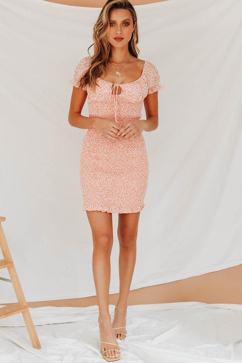 Bring Me The Night Shirred Mini Dress // Pink
