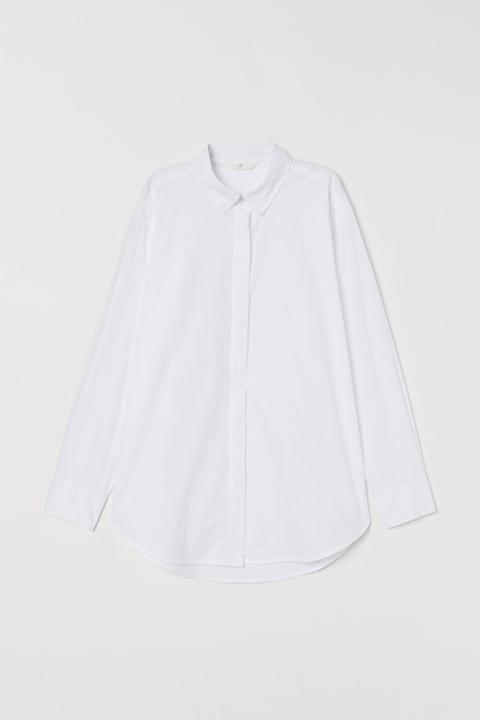 Camisa Oversize De Algodón - Blanco