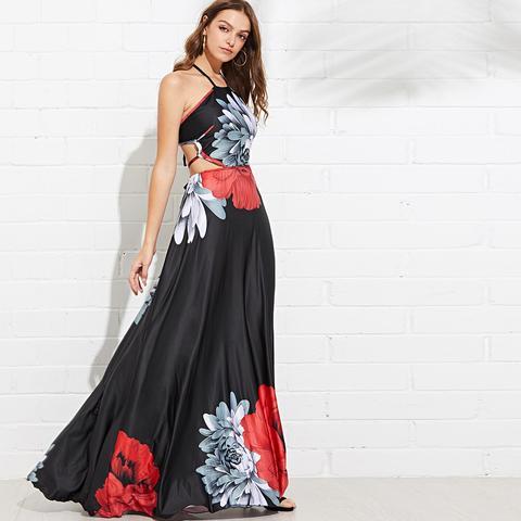 Halter Floral Dress Tagliato Indietro
