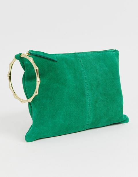 pacchetto alla moda e attraente ultime versioni ampia scelta di colori e disegni Asos Design - Pochette In Pelle Scamosciata Con Anello In Bambù ...