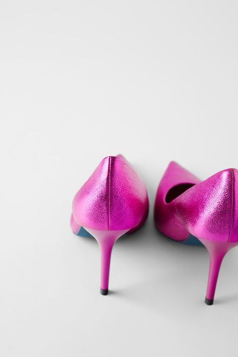 Zapato Tacón Piel Metalizado Blue Collection