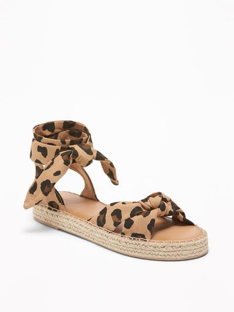 Lace-up Leopard-print Espadrilles For