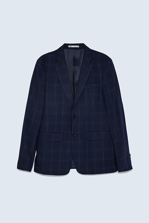 Blazer Conjunto Estructura Cuadros de Zara en 21 Buttons