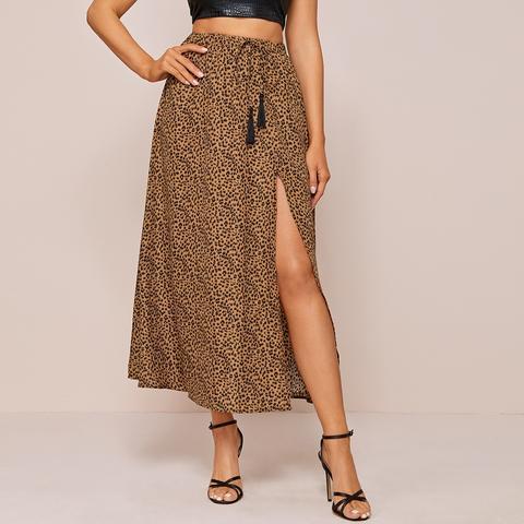Leopard Print Self-tie Tassel Maxi Skirt
