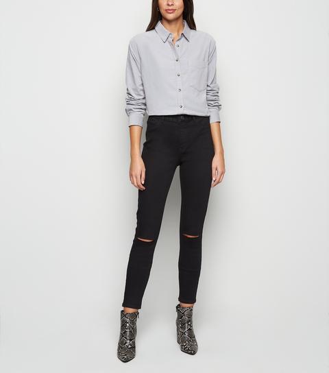 Tall Black Ripped Knee Skinny Jeans New Look