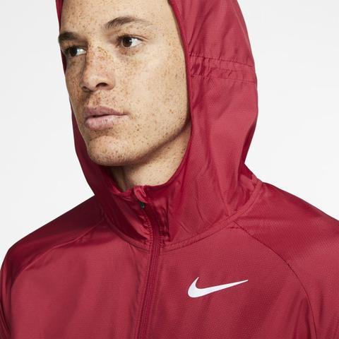 Nike Essential Chaqueta De Running Con Capucha - Hombre - Rojo