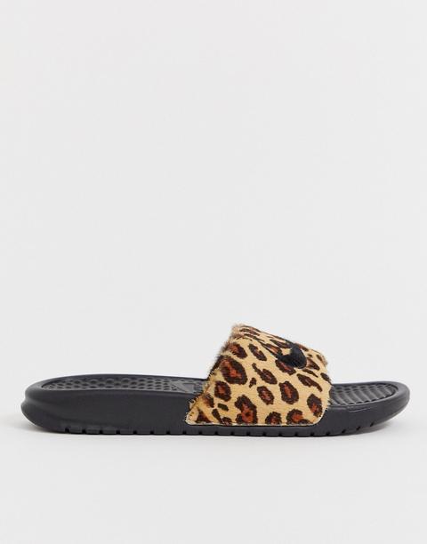 Nike Leopard Print Benassi Slider-black