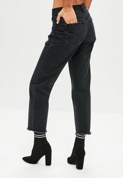 Black Wrath Straight Leg Midrise Clean Cut Hem Jeans, Black