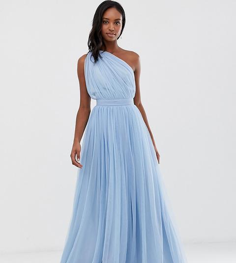 Vestido Largo Asimétrico De Tul De Asos Design Tall-azul