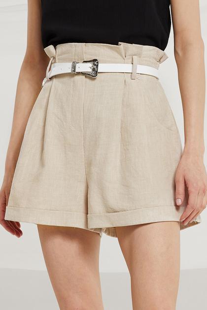 Jaelyn High Rise Linen Shorts de Storets en 21 Buttons