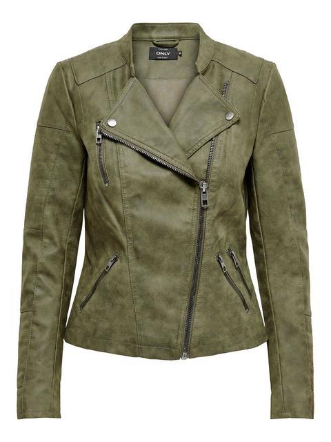 Sportschuhe üppiges Design Professionel Only Leder-look Jacke Damen Grün from ONLY on 21 Buttons