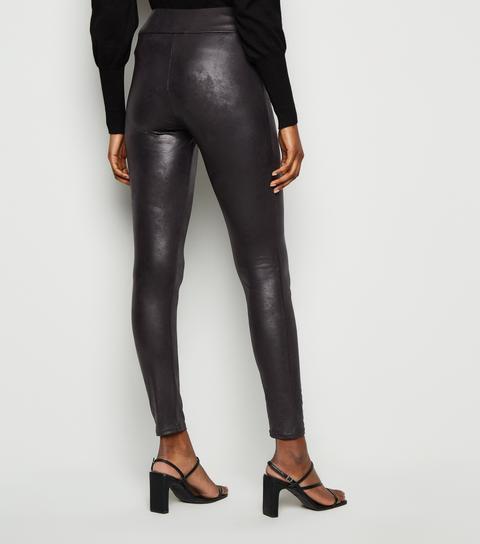Black Coated Leather-look Crackle Leggings New Look