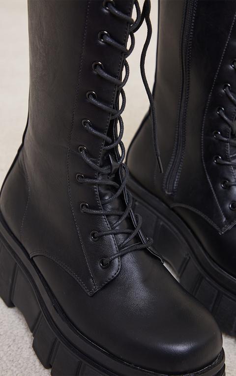 Bottes Motarde Noires À Semelle Plate Plateforme Et Lacets, Noir