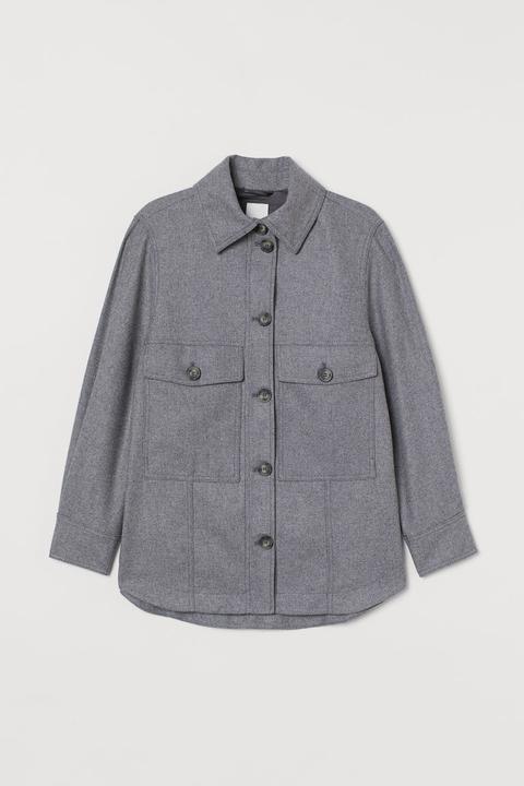 Chaqueta Camisera Con Lana - Gris de H&M en 21 Buttons