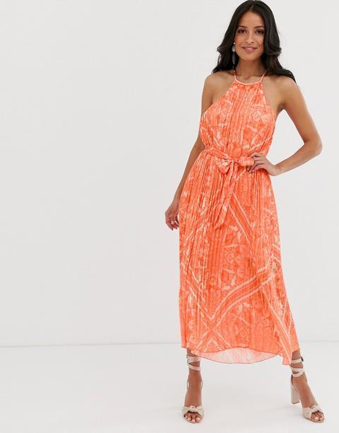 Lipsy - Ausgestelltes Neckholder-kleid Mit Zierfalten In Orange - Mehrfarbig from ASOS on 21 Buttons