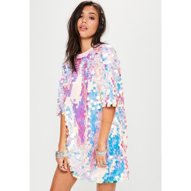 sequin tee shirt dress