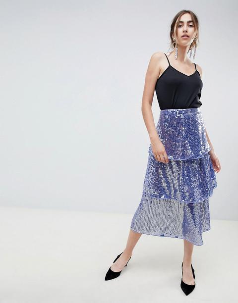 Falda Midi Con Lentejuelas A Capas De Asos Design-azul