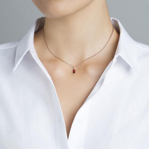 Colgante Granate Plata Recubierta Oro Rosa