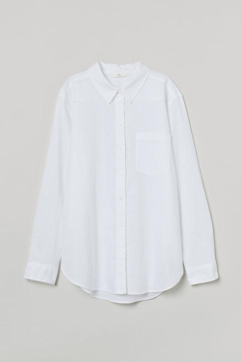 Camisa En Mezcla De Lino - Blanco