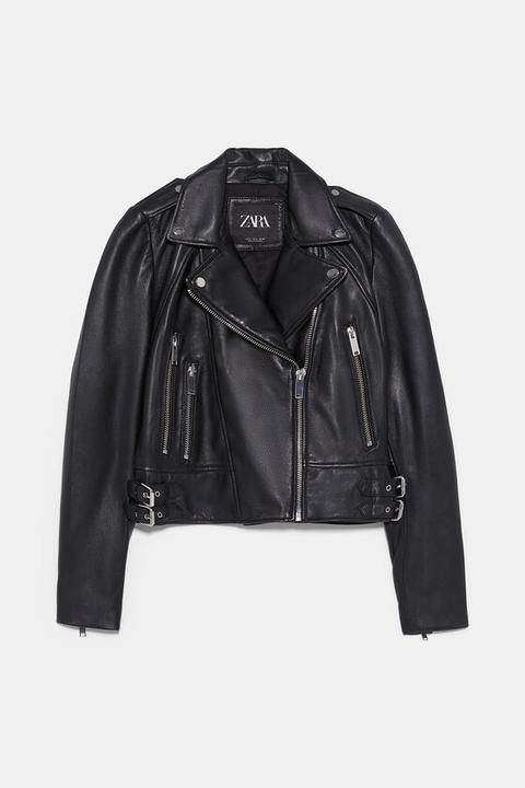 Veste De Motard En Cuir from Zara on 21 Buttons