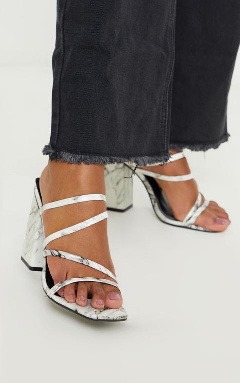 Marble Block Heel Strappy Mule Sandal