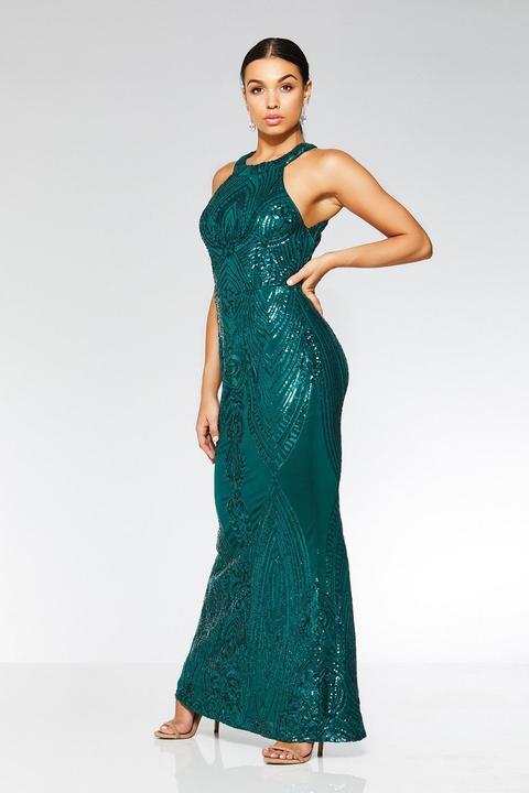 Bottle Green Sequin High Neck Fishtail Maxi Dress