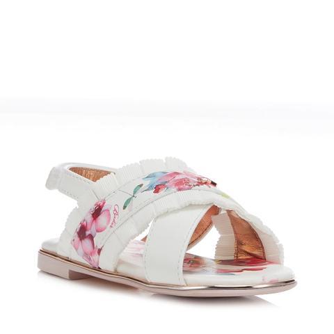 White Floral Frilled Trim Sandals