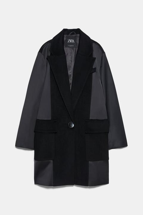 Abrigo Masculino Tejido Combinado de Zara en 21 Buttons