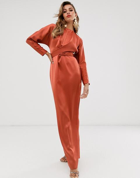 Vestido Largo De Satén Con Manga Murciélago Y Cintura Cruzada De Asos Design-naranja