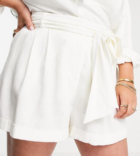 Shorts De Traje Blancos Con Lazada En La Cintura De Lino De Asos Design Curve