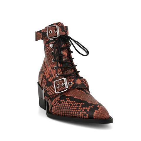 Kunix Snakeskin Biker Ankle Western Cowboy Boots