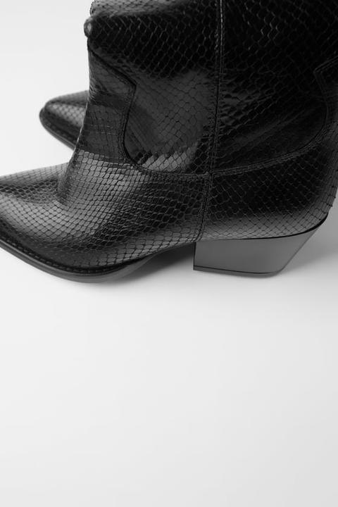 Bota Piel Tacón Cowboy Estampado Animal de Zara en 21 Buttons