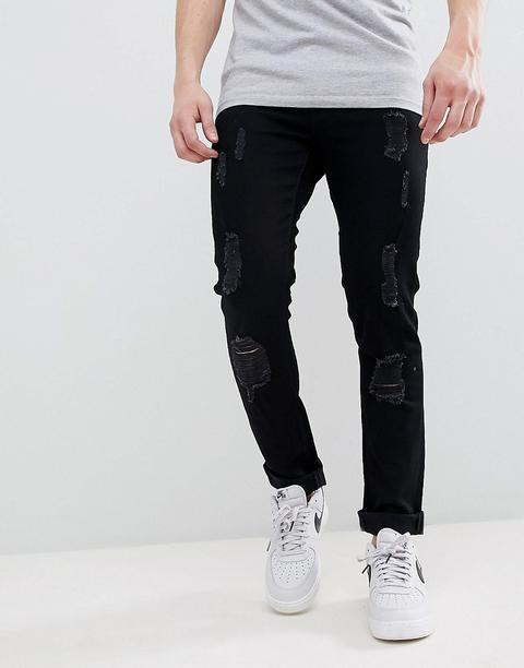 ff07e21f929f Liquor N Poker - Skinny-jeans Mit Rissen Und Reißverschluss Am ...