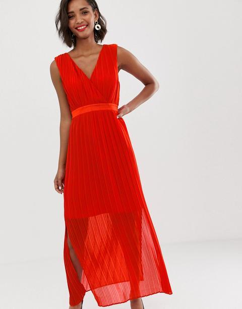 Vestido Largo Cruzado Y Plisado De Y.a.s-rojo