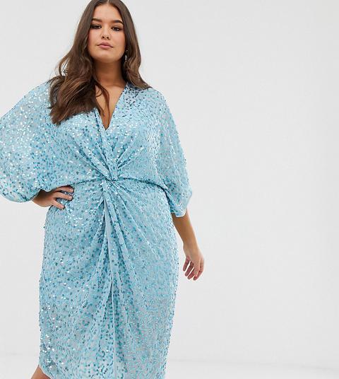 Vestido Midi Estilo Kimono Con Nudo En La Parte Delantera Con Lentejuelas Dispersas De Asos Design Curve de ASOS en 21 Buttons