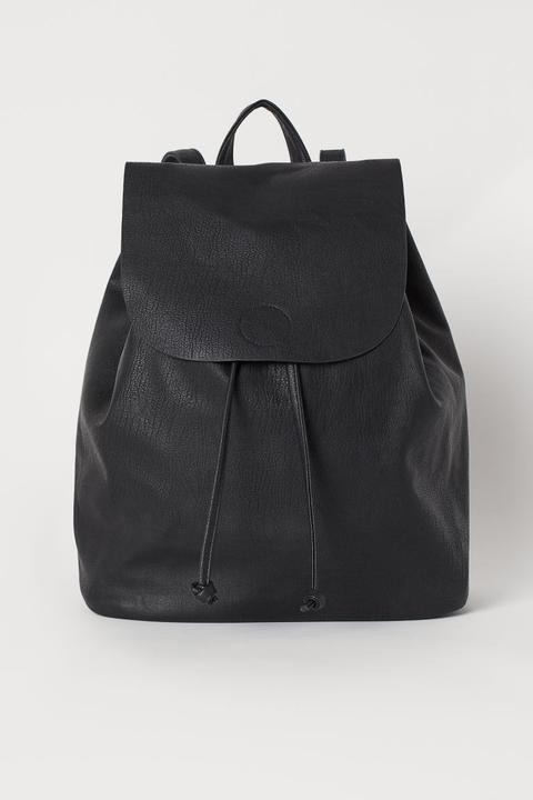 grande variété de modèles réputation fiable design distinctif H & M - Sac À Dos Avec Rabat - Noir from H&M on 21 Buttons