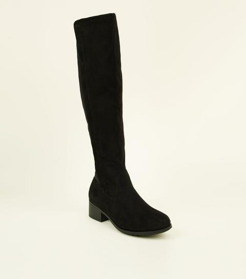 Girls Black Knee High Boots New Look