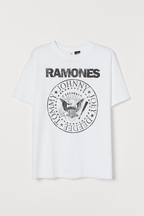 T-shirt Mit Druck - White - Damen