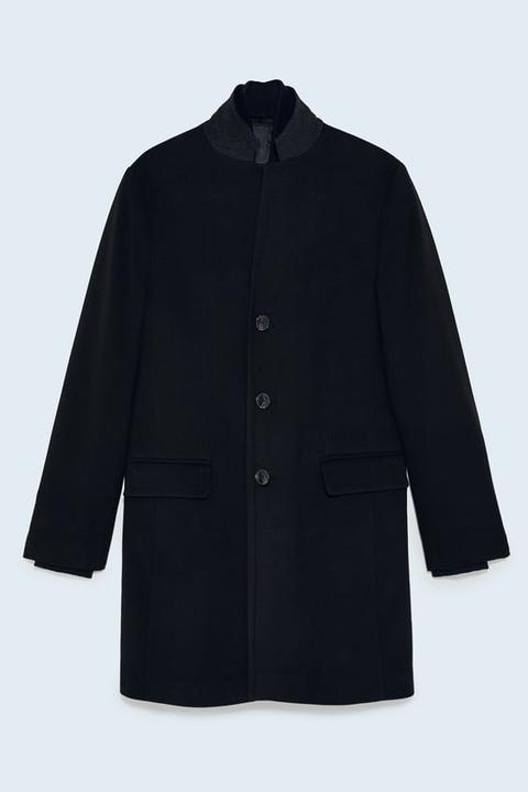 Abrigo Solapa Invertida Combinada de Zara en 21 Buttons