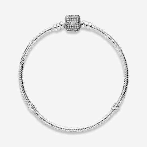 Pandora Moments Sparkling Pavé Clasp Snake Chain Bracelet - Sterling Silver / Clear