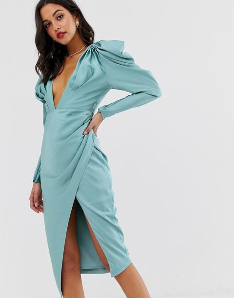Vestido Midi Escotado De Satén Con Pliegues En Los Hombros De Asos Edition-azul de ASOS en 21 Buttons