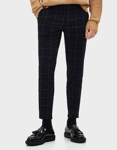 Pantalón Skinny Fit De Cuadros de Bershka en 21 Buttons