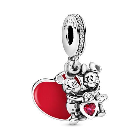 Charm Colgante En Plata De Ley Minnie Y Mickey Con Amor