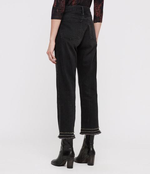 Ava Studded Hem Straight High-rise Jeans, Washed Black