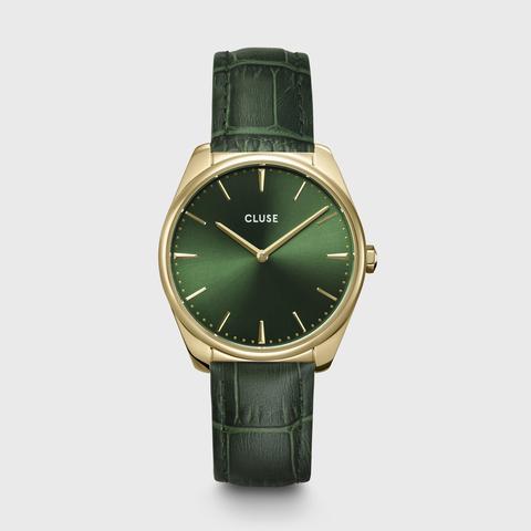Féroce Leather, Gold, Forest Green Croco de Cluse en 21 Buttons
