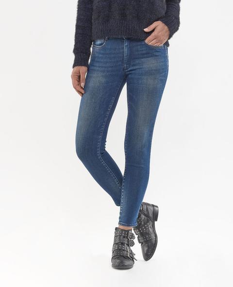 Jeans Pulp Slim Taille Haute 7/8eme Bleu from Le temps des cerises on 21 Buttons
