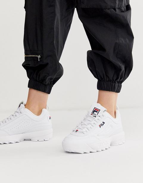 Zapatillas De Cuero Sintético En Blanco Disruptor De Fila