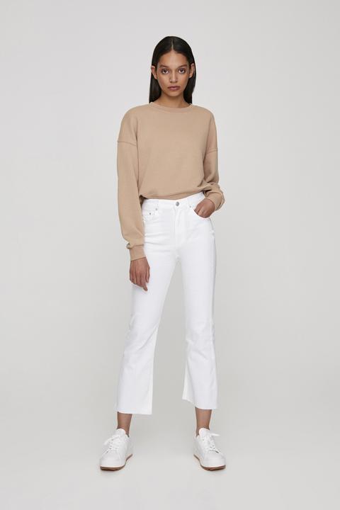 Jeans Campana Blancos Ajustados
